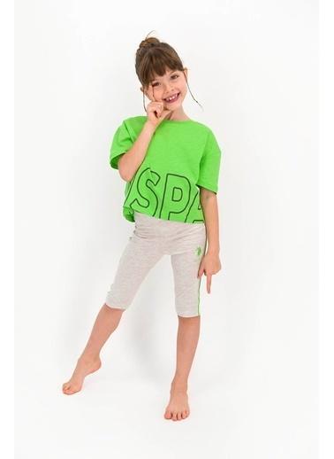 U.S. Polo Assn. Lisanslı Lime Lacivert Kız Çocuk Bermuda Takım Sarı